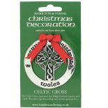Silver Plated Christmas Decoration Celtic Cross Wales 0972